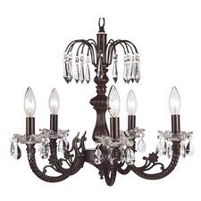 <strong>Jubilee Collection</strong> Waterfall Chandelier with Wandering Wine Green Shade in Mocha