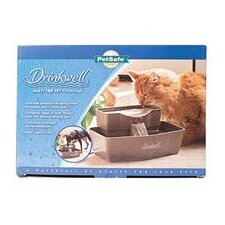 Drinkwell Rectangle Multi-Tier Fountain Dog Feeder in Gray - 100 oz.
