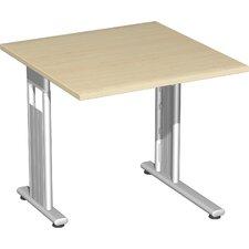 """80 x 80cm Schreibtisch links zurückgesetzt """"Lissabon"""" in Silber"""