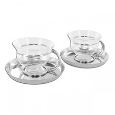 Mono Filio Glass Teacups with Saucer by Tassilo von Grolman (Set of 2)