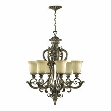 Barcelona 6 Light Chandelier in Mystic Silver