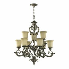 Barcelona 9 Light Chandelier in Mystic Silver