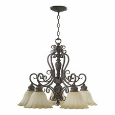<strong>Quorum</strong> Coronado 5 Light  Nook Chandelier in Gilded Bronze