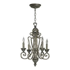 <strong>Quorum</strong> Summerset 4 Light Chandelier in Mystic Silver