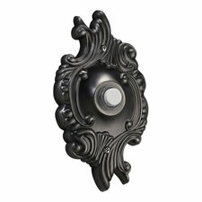 Opulent Round Door Chime Button in Antique Silver