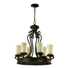 <strong>Quorum</strong> Alameda 6 Light Chandelier with Scavo Glass Shade