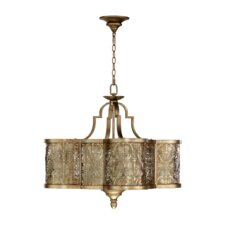 French Damask 6 Light Drum Pendant