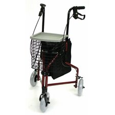 Aluminum 3-Wheel Rollator with Basket, Pouch and Tray