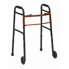 <strong>Briggs Healthcare</strong> Two-Button Release Aluminum Folding Walker with Non-Swivel Wheels (Set of 2)