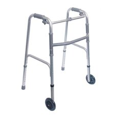 "<strong>Briggs Healthcare</strong> Single Release Aluminum Folding Walker with 5"" Non Swivel Wheels in Silver"
