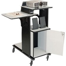 4-Shelf Presentation Station with Security Cabinet in Black / Gray