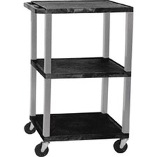 Tuffy Height Adjustable Open Shelf AV Cart