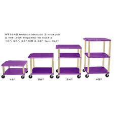 "<strong>H. Wilson Company</strong> Tuffy 16"" - 42"" Height Adjustable Open Shelf AV Cart"