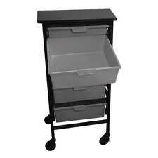 Mobile Work Center with 1 Single Extra Wide, 4 Double Extra Wide Storage Trays