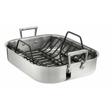 <strong>All-Clad</strong> Stainless Steel Petite Roasting Pan with Rack