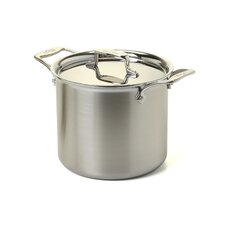 d5 Brushed Stainless Steel 7-qt. Tall Stock Pot with Lid