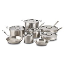 Brushed Stainless Steel 14 Piece Cookware Set