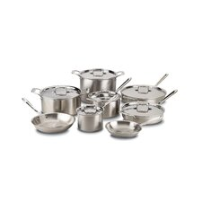 <strong>All-Clad</strong> d5 Brushed Stainless Steel 14-Piece Cookware Set