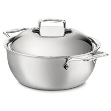 <strong>All-Clad</strong> d5 Brushed Stainless Steel 5.5-qt. Stainless Steel Round Dutch Oven