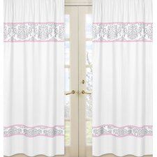 Pink and Gray Elizabeth Cotton Rod Pocket Curtain Panel (Set of 2)