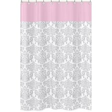 Pink and Gray Elizabeth Cotton Shower Curtain