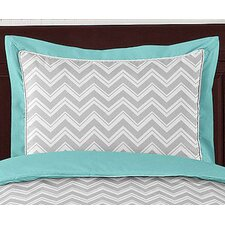 <strong>Sweet Jojo Designs</strong> Zig Zag Turquoise and Gray Standard Pillow Sham