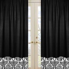 Isabella Hot Pink, Black and White Curtain Panel (Set of 2)