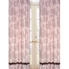 Pink and Brown Toile Cotton Curtain Panel (Set of 2)