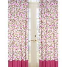 Circles Pink Cotton Curtain Panel (Set of 2)