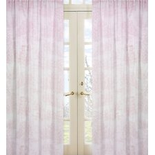Pink Toile Cotton Curtain Panel Pair