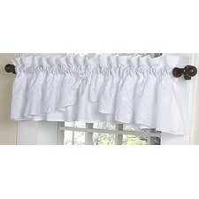 Eyelet White Cotton Rod Pocket Ruffled Curtain Valance
