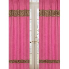 Cheetah Pink Cotton Curtain Panel Pair