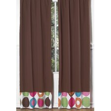 Chocolate Brown Deco Dot Curtain Panel Pair