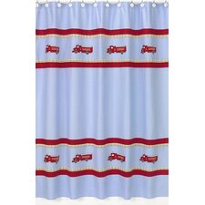 Fire Truck Cotton Shower Curtain