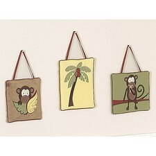 <strong>Sweet Jojo Designs</strong> Monkey Collection Wall Hangings 3 Piece Set