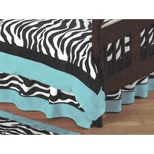 Zebra Turquoise Collection Toddler Bed Skirt