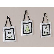 <strong>Sweet Jojo Designs</strong> Princess Black, White and Green Collection Wall Hangings (Set of 3)