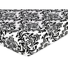 <strong>Sweet Jojo Designs</strong> Isabella Hot Pink, Black and White Fitted Crib Sheet