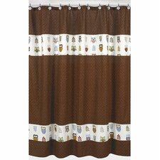 Happy Owl Cotton Shower Curtain