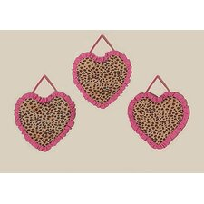 3 Piece Cheetah Pink Wall Hanging Set