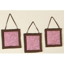 3 Piece Pink Paisley Hanging Art Set