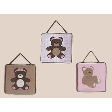 Teddy Bear Pink Collection Wall Hangings 3 Piece Set
