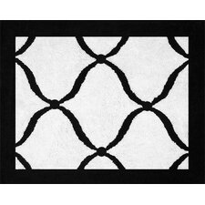 Princess Black, White and Purple Collection Floor Rug