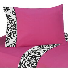 <strong>Sweet Jojo Designs</strong> Isabella Hot Pink, Black and White Sheet Set