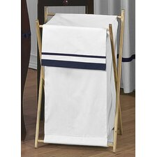 Hotel White and Navy Laundry Hamper