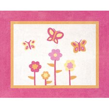 <strong>Sweet Jojo Designs</strong> Butterfly Pink and Orange Collection Floor Rug