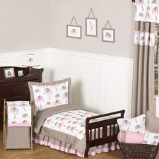 Pink and Taupe Mod Elephant Toddler Bedding Collection