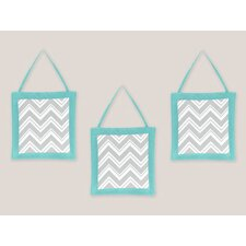 <strong>Sweet Jojo Designs</strong> Zig Zag Turquoise and Gray Collection Wall Hangings