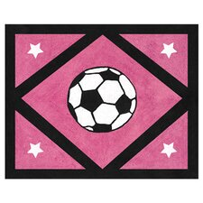 Soccer Pink Collection Floor Rug