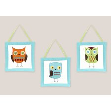 3 Piece Hooty Turquoise and Lime Wall Hanging Art